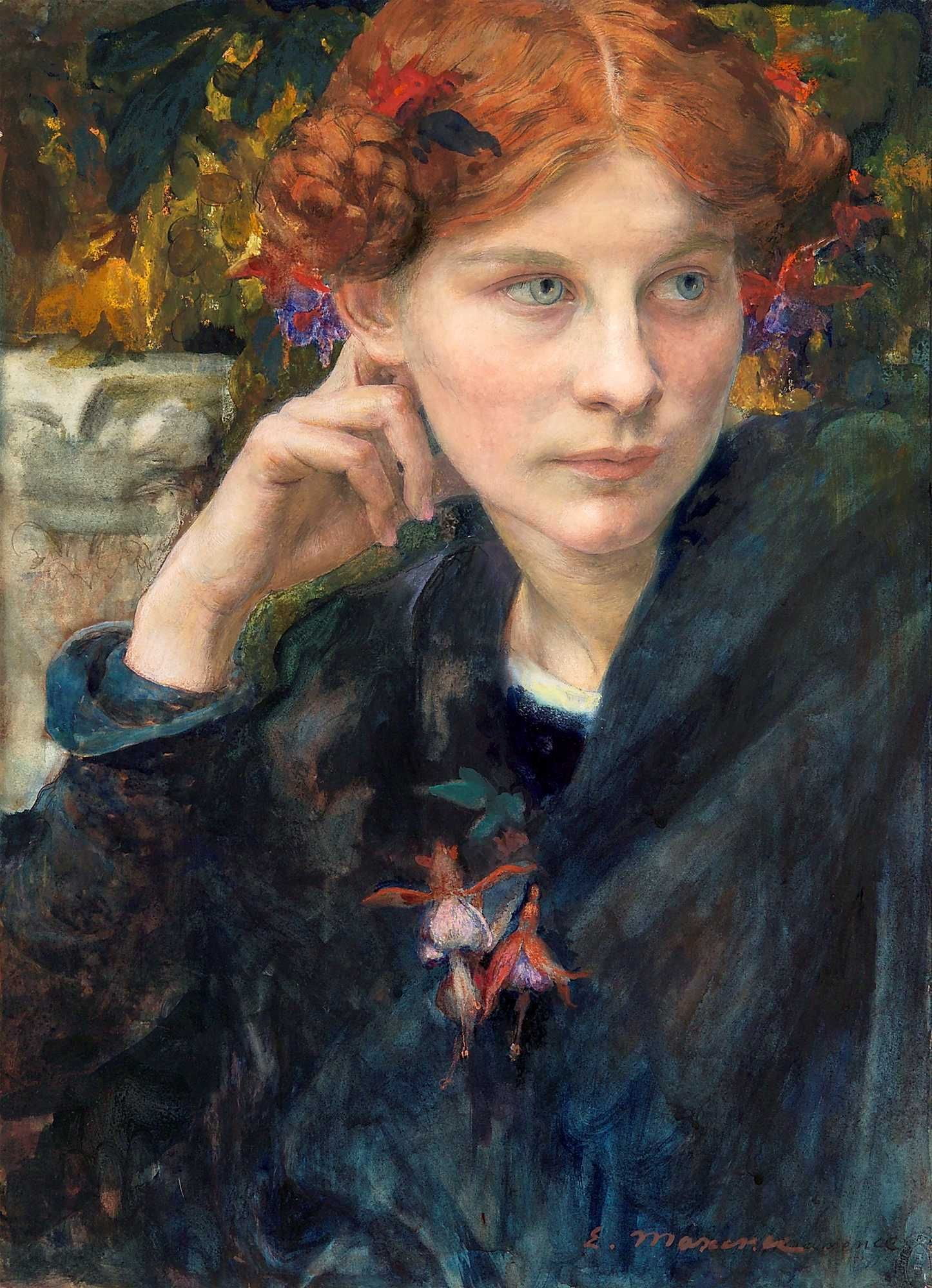 Young Pensive Woman Turned to the Left, Edgar Maxence